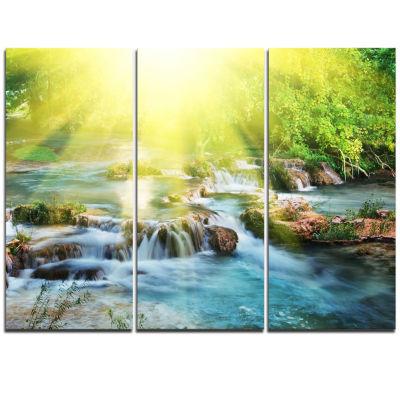 Designart Water Cascade Under Shiny Sun Modern Beach Triptych Canvas Art Print