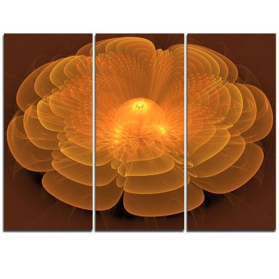 Designart Water Lily Digital Art Fractal Flower Floral Triptych Canvas Art Print