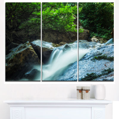 Designart Water Slide Over The Moss Landscape Triptych Canvas Art Print