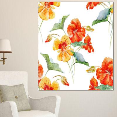 Designart Watercolor Nasturtium Flower Pattern Floral Canvas Art Print