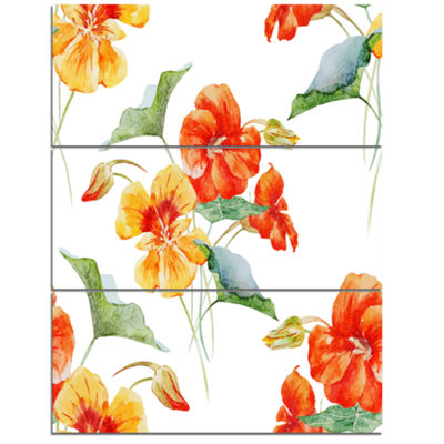 Designart Watercolor Nasturtium Flower Pattern Floral Canvas Art Print - 3 Panels