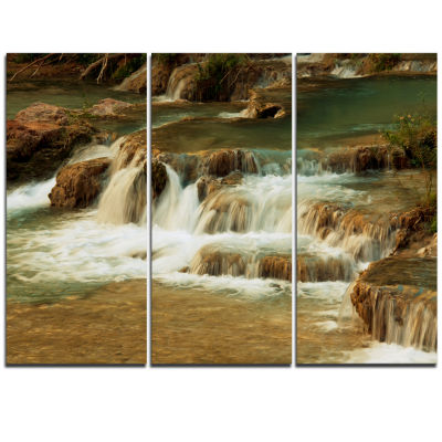 Designart Waterfall Cascade With White Waters Modern Landscape Wall Art Triptych Canvas