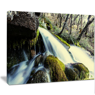 Designart Waterfall In Forest On Rocks Seashore Canvas Art Print
