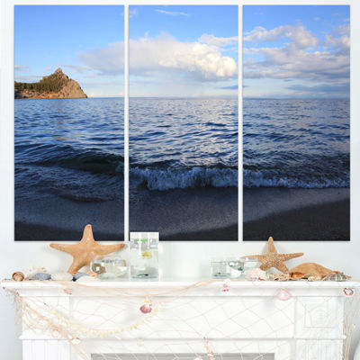 Designart Wave With Whitecaps On Lake Baikal Seashore Triptych Canvas Art Print