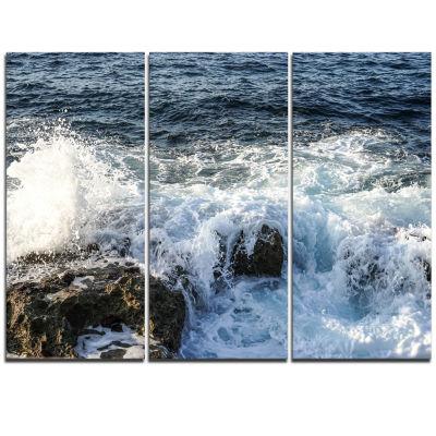 Designart Waves Breaking On Stony Beach SeashoreTriptych Canvas Art Print