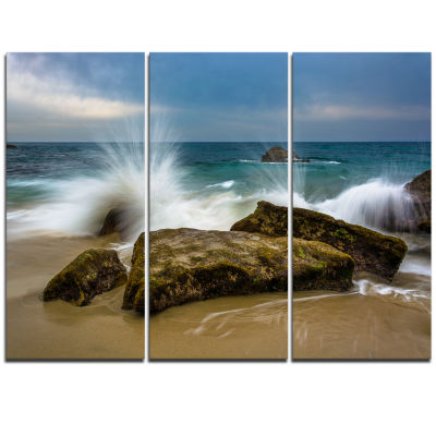Designart Waves Crashing Rocks At Woods Cove Seascape Triptych Canvas Art Print
