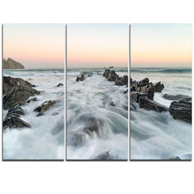 Designart Waves Hitting Beach At Sunrise AtlanticSeashore Triptych Canvas Art Print