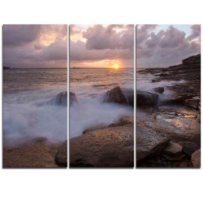 Designart Waves Hitting Rocks In Australia Coastline Large Seashore Triptych Canvas Print