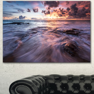 Designart Waves Hitting Rocky Beach Beach Photo Canvas Print