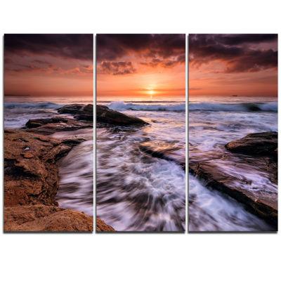 Designart Waves Hitting Rocky Beach Burgas Bay Seashore Triptych Canvas Art Print