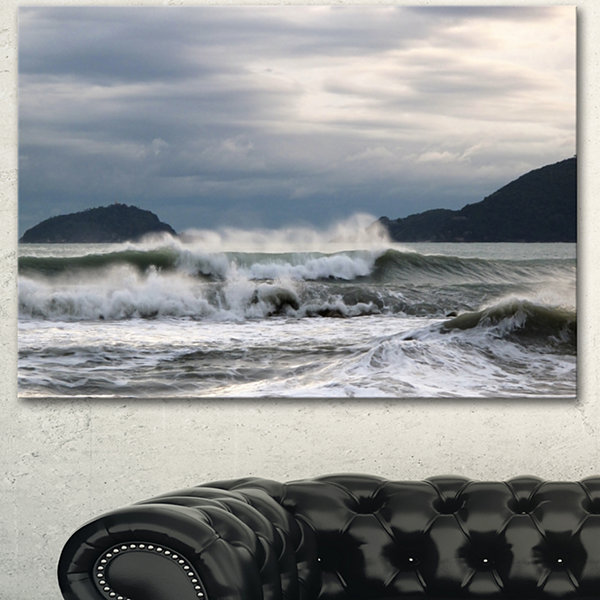 Designart Waves In Lerici Beach Italy Seascape Canvas Art Print