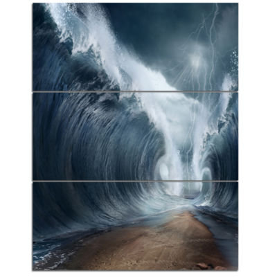 Designart Waves Over The Parted Sea Path Large Seashore Triptych Canvas Print