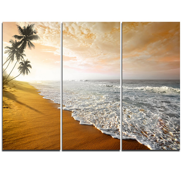 Design Art Wavy Clouds Over Seashore Extra Large Seascape Art Triptych Canvas