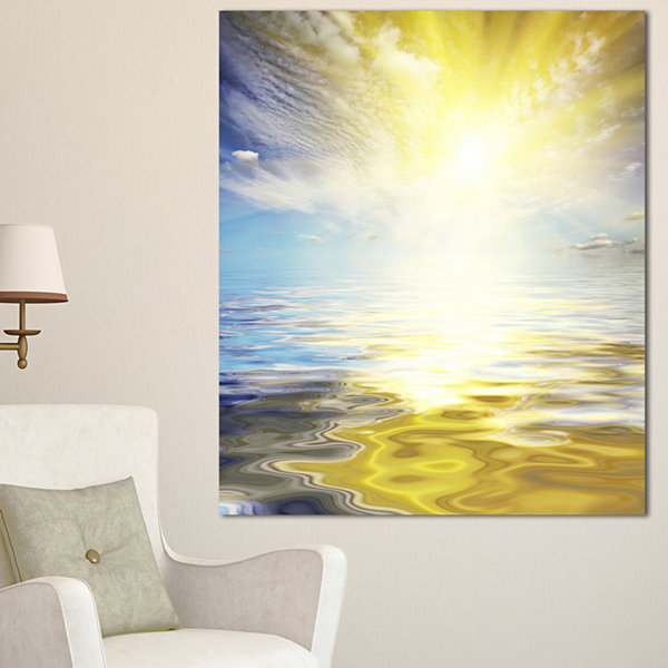 Designart Wavy View Of Sea In Yellow Blue SeashoreCanvas Art Print - 3 Panels