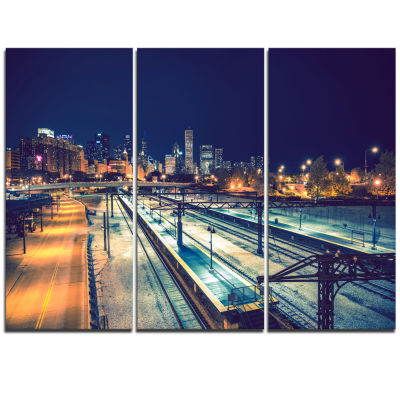 Design Art Welcome In Chicago Highway Traffic Cityscape Triptych Canvas Print
