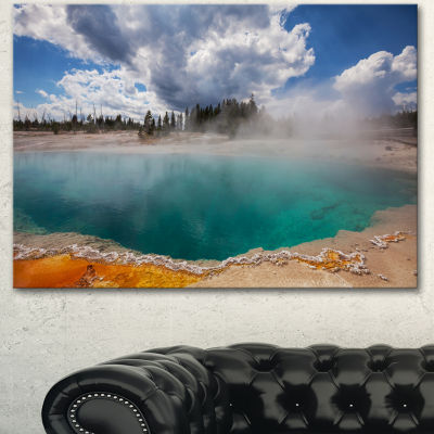 Designart West Thumb Geyser Basin In YellowstoneOversized Landscape Canvas Art