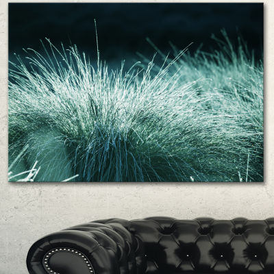 Designart Wet Green Grass In Downpour Oversized Landscape Canvas Art - 3 Panels