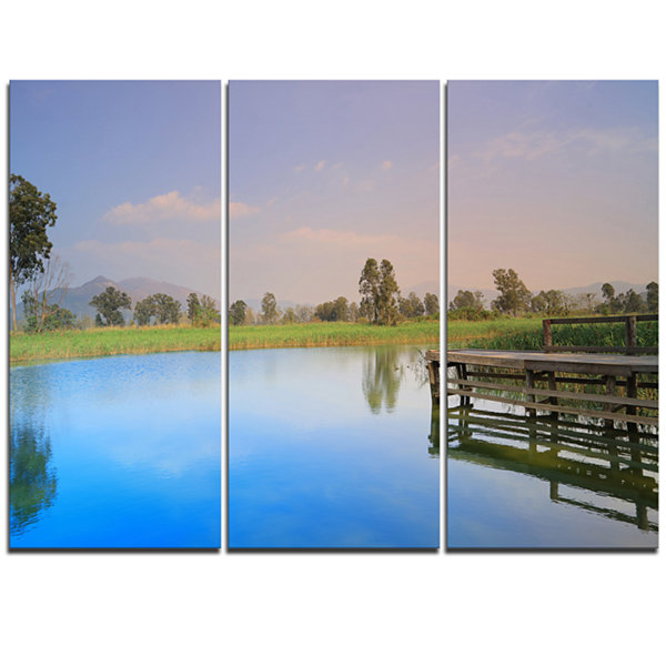 Designart Wetland Of Nam Sang Wai Blue Large Seascape Art Triptych Canvas Print
