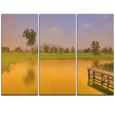 Designart Wetland Of Nam Sang Wai Orange Large Seascape Art Triptych Canvas Print