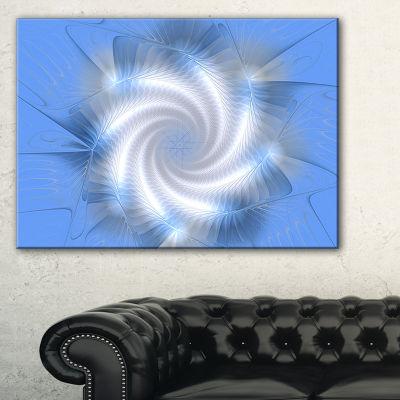 Designart White And Blue Fractal Star Flower Floral Canvas Art Print