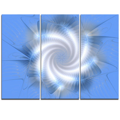 Designart White And Blue Fractal Star Flower Floral Triptych Canvas Art Print