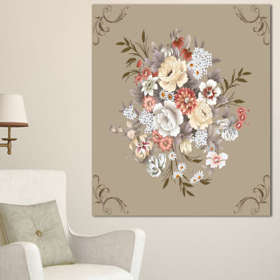 Designart White And Yellow Floral Pattern Floral Canvas Art Print