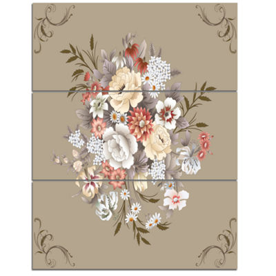 Designart White And Yellow Floral Pattern Floral Canvas Art Print - 3 Panels