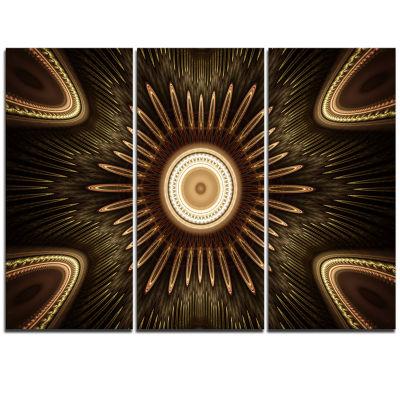 Designart White Brown Rounded Fractal Flower Floral Triptych Canvas Art Print