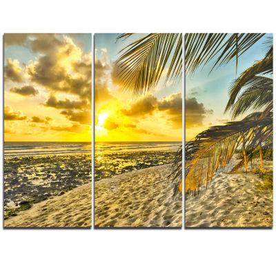 Designart White Caribbean Beach With Palms Landscape Triptych Canvas Art Print