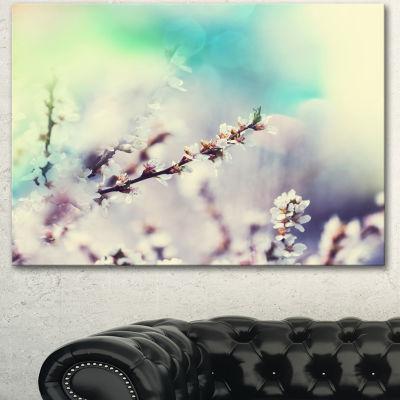 Design Art White Cherry Blossoming Flowers FloralCanvas Art Print - 3 Panels