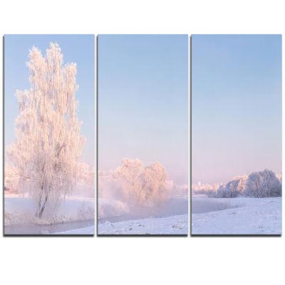 Designart White Crystal Tree And Landscape Landscape Print Wall Artwork