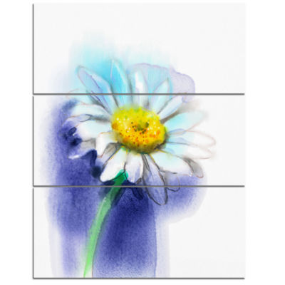 Designart White Gerbera Daisy In Blue Large FlowerTriptych Canvas Wall Art