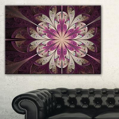 Designart White Purple Rounded Fractal Flower Floral Canvas Art Print