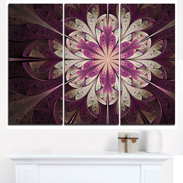 Designart White Purple Rounded Fractal Flower Floral Triptych Canvas Art Print