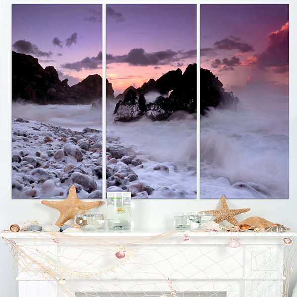 Designart White Sand At Abano Beach Portugal Seashore Triptych Canvas Art Print