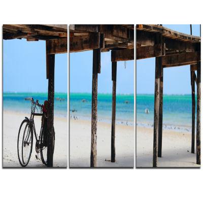 Designart White Sand Beach In Zanzibar Island Modern Seascape Triptych Canvas Artwork