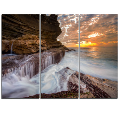 Design Art White Sea Waters At Coogee Beach LargeSeashore Triptych Canvas Print