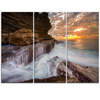 Designart White Sea Waters At Coogee Beach Large Seashore Triptych Canvas Print