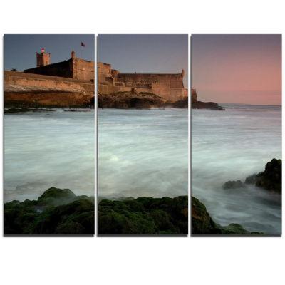 Design Art White Seascape At Old Fort Lisbon Seashore Triptych Canvas Art Print