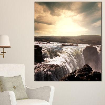 Designart White Waterfalls In Iceland Large Seashore Canvas Print