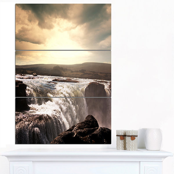 Designart White Waterfalls In Iceland Large Seashore Canvas Print - 3 Panels