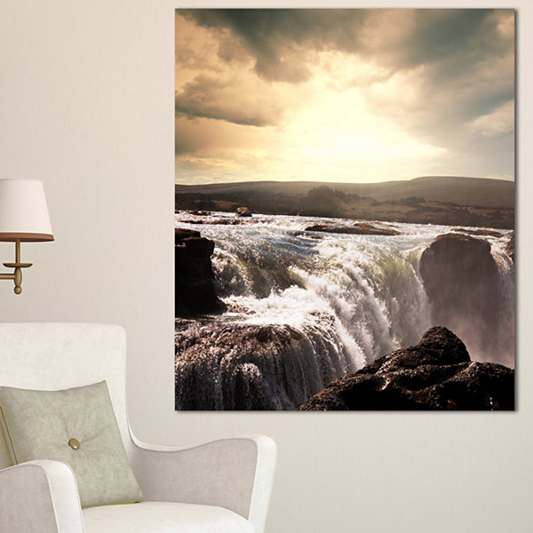 Design Art White Waterfalls In Iceland Large Seashore Canvas Print - 3 Panels