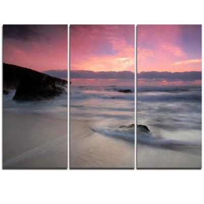 Designart White Waters At Guincho Beach Cascais Seashore Triptych Canvas Art Print