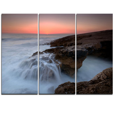 Designart White Waters At The Bridge Of Hell Seashore Triptych Canvas Art Print
