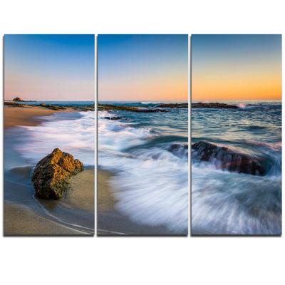 Designart White Waves Crashing On Rocks Seascape Triptych Canvas Art Print
