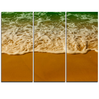 Designart White Waves From Green Beach Waters Seascape Triptych Canvas Art Print