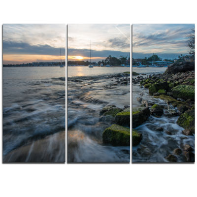 Designart White Waves Hitting Rocky Seashore LargeSeashore Triptych Canvas Print