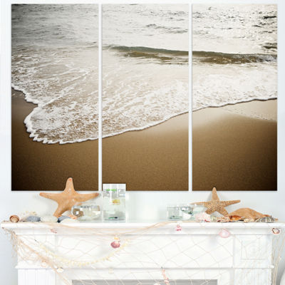 Designart White Waves In Mediterranean Sea Seashore Triptych Canvas Art Print