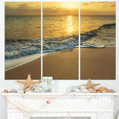 Designart White Waves Under Yellow Sunset Modern Beach Triptych Canvas Art Print