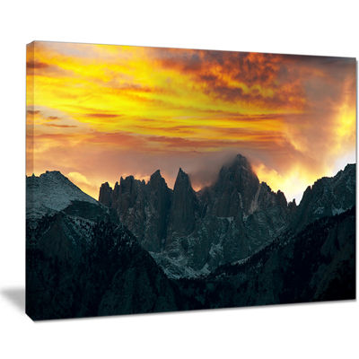 Designart Whitney Mountains Under Cloudy Sky Oversized Landscape Canvas Art